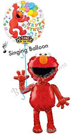 Elmo Airwalker And Singing Birthday Balloon Bouquet Hand Delivered By Balloonplanet