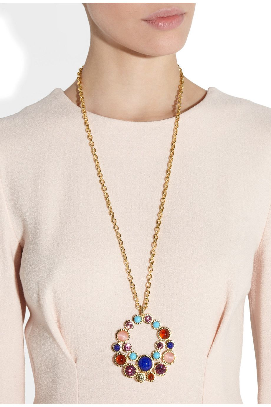 Kenneth Jay Lane|Gold-plated crystal and resin stone necklace|NET-A-PORTER.COM
