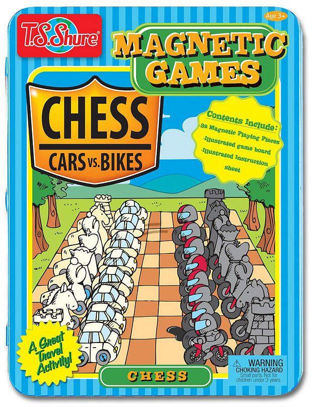 T.S. Shure Chess Game Tin Cars Vs. Bikes Theme