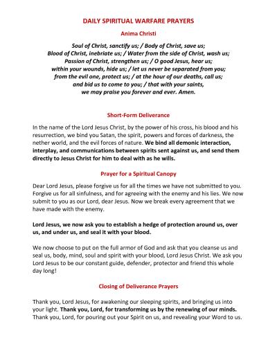 Daily Spiritual Warfare Prayers War Room The Power Of Prayer