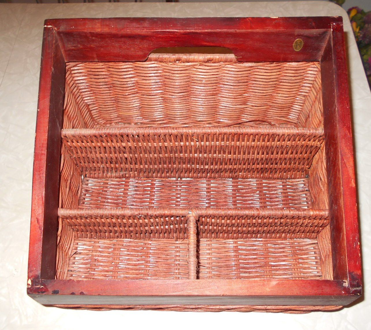Vintage Wicker and Wood Desk/Mail Organizer/Container 4 Compartments by RadiogirlCarolyn on Etsy