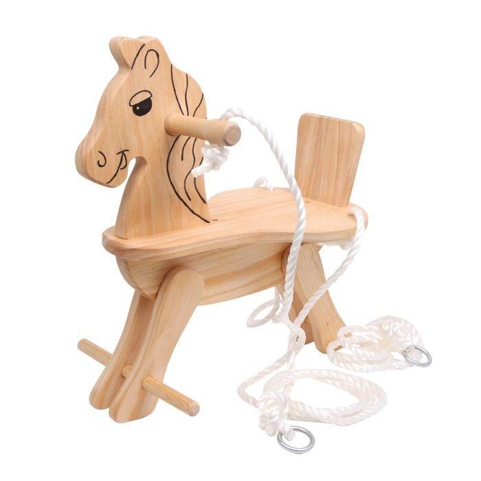 Columpio de madera para ni os en forma de caballo - Columpio de madera ...
