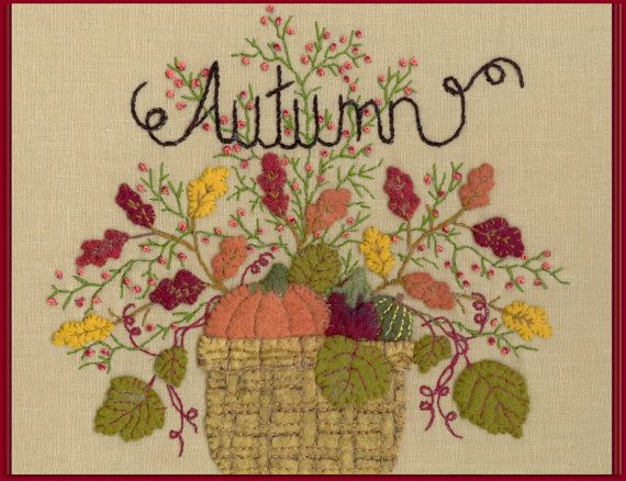 Wool Seasons: Autumn -  Wool Applique Pattern - by Beth Ritter for Wellington House Designs - Instant Digital Download