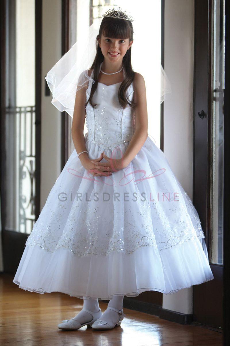 Dazzing embroidered organza dress with halter top MDR1214 $124.95 on www.GirlsDressLine.Com