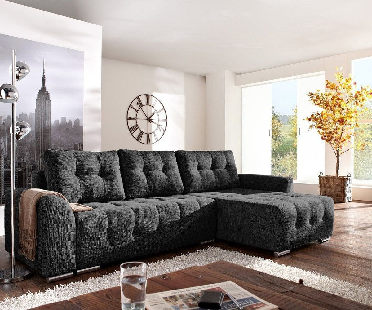 delife sofa tania 295x170 schwarz mit schlaffunktion, ecksofas, Wohnzimmer dekoo