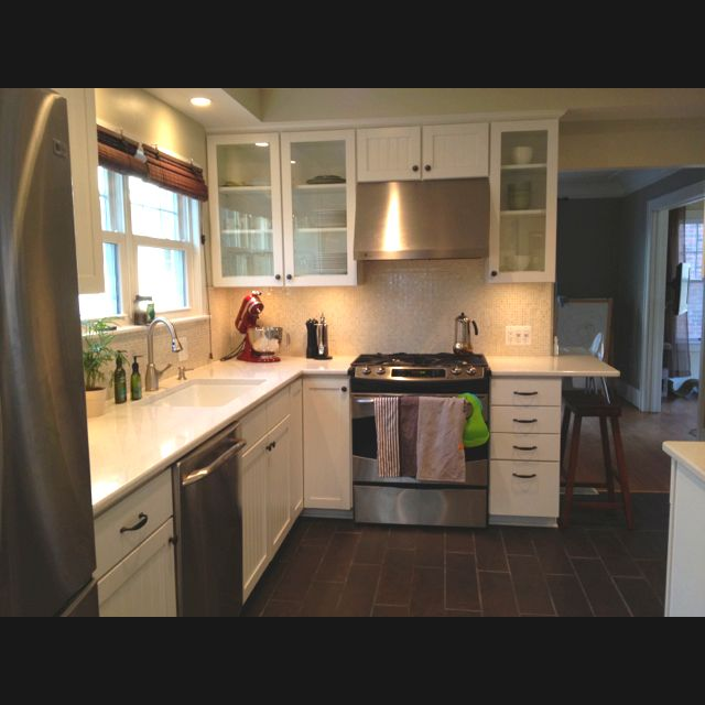 White Kitchen Cabinets Light Floor: White Kitchen Cabinets, Light Counter, Dark Floor, Red