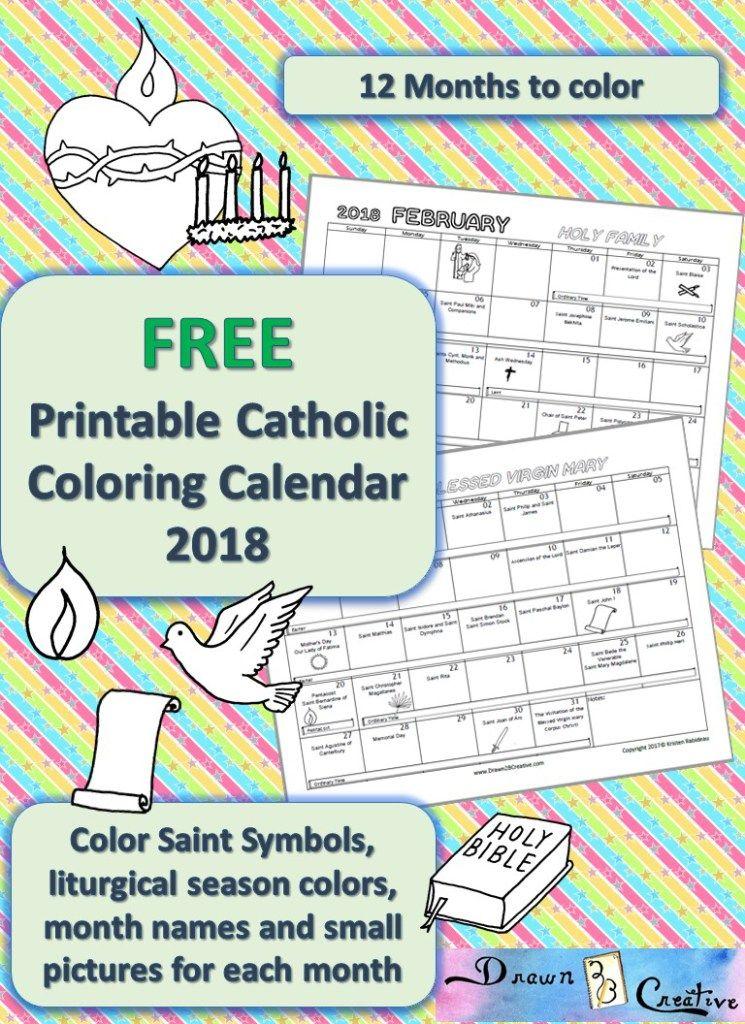 Printable Catholic Calendar To Color Drawn2bcreative Religion