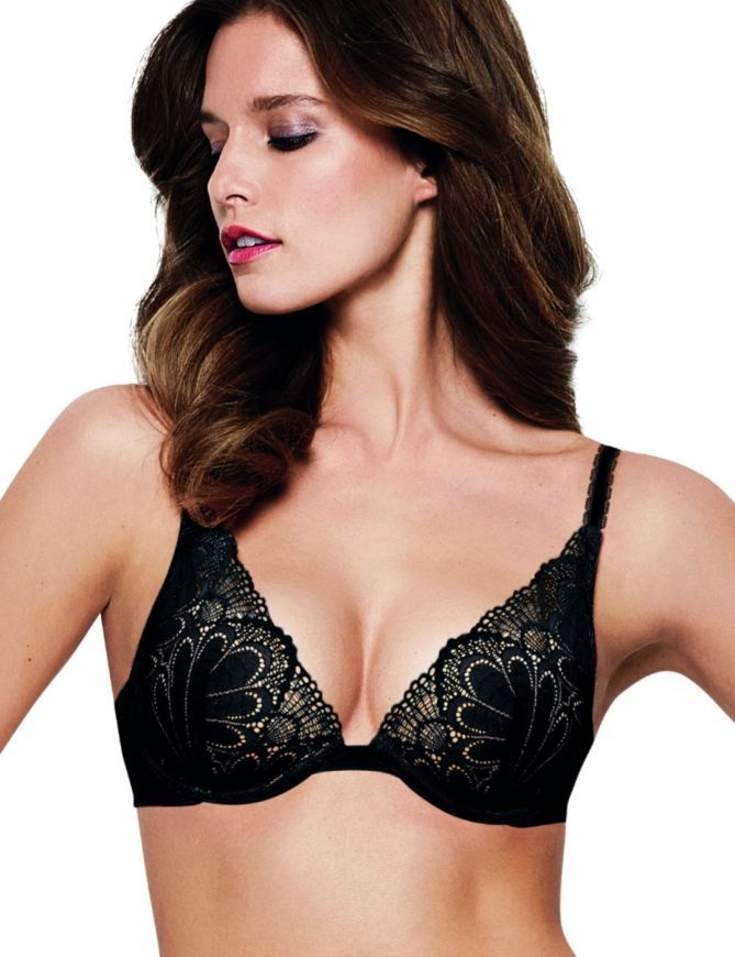 Wonderbra My Pretty Push Up Refined Glamour Triangle  Bra W02LN Black