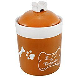 Comical `I Love To Tailgate` Orange/White Dog Treat Jar