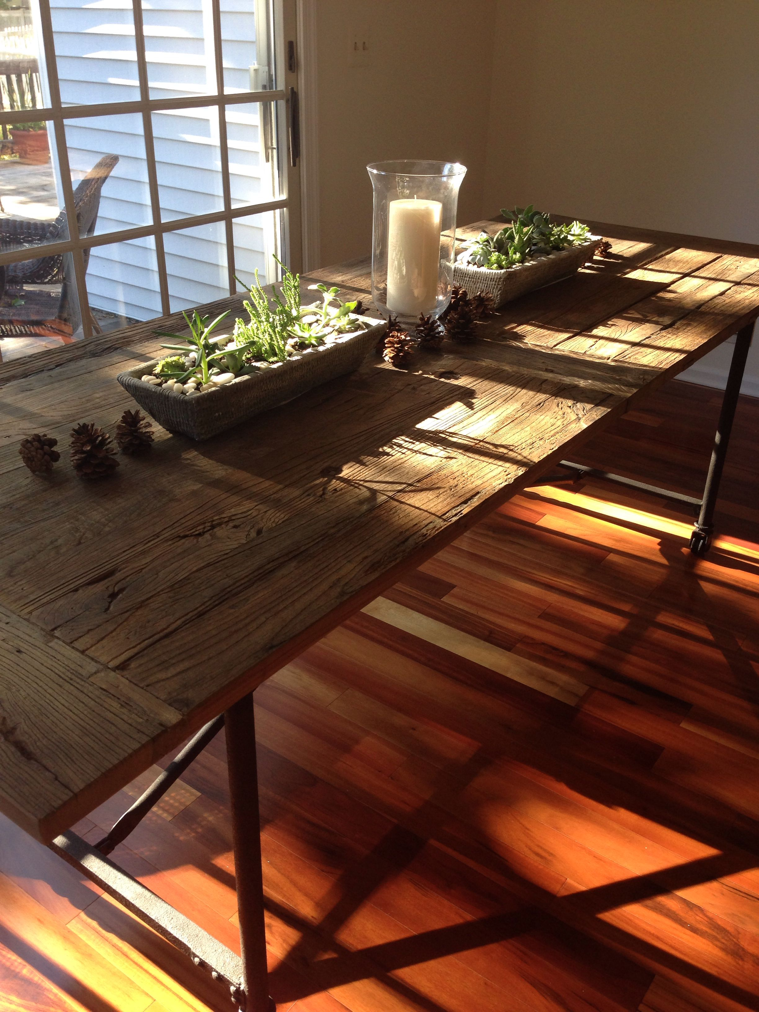 Restoration Hardware Flatiron Table Succulent Centerpieces