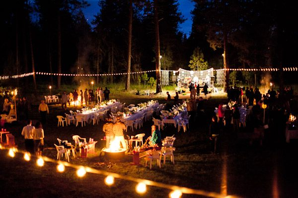 Backyard Reception Party With Bonfires