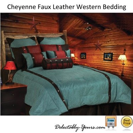 Cheyenne Tooled Faux Leather Turquoise Southwestern Bedding Ensemble Home Western Bedding Western Comforter Sets
