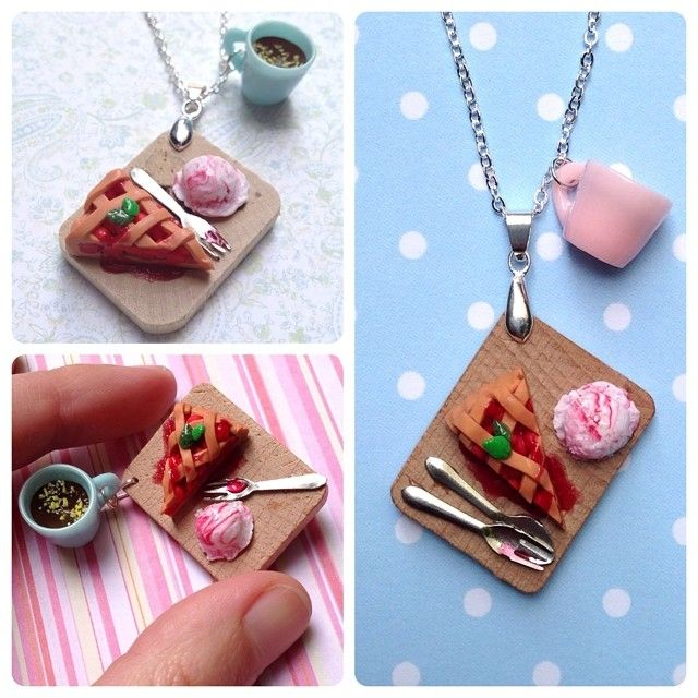 Twin Peaks cherry pie and coffee necklaces and brooches - get them at www.tuckshop.etsy.com