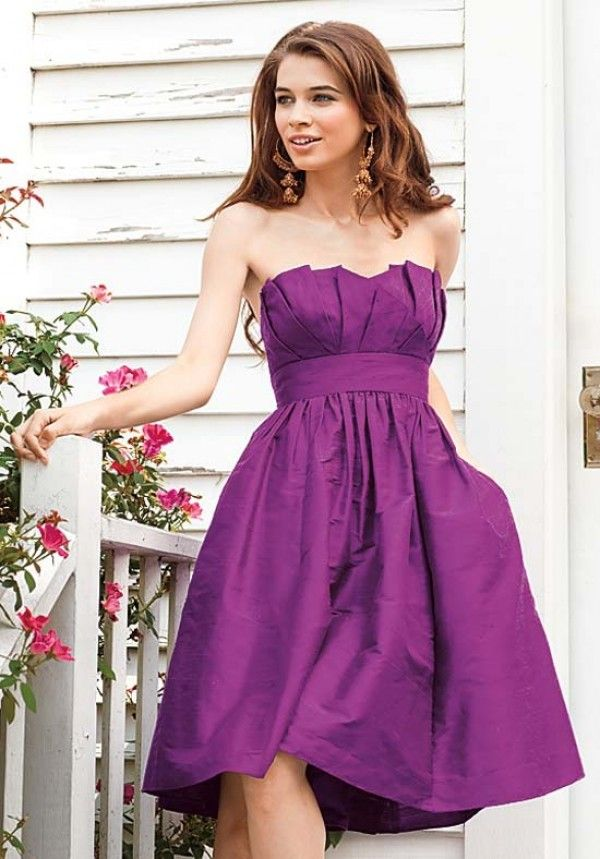 3 different style bridesmaid dresses purple