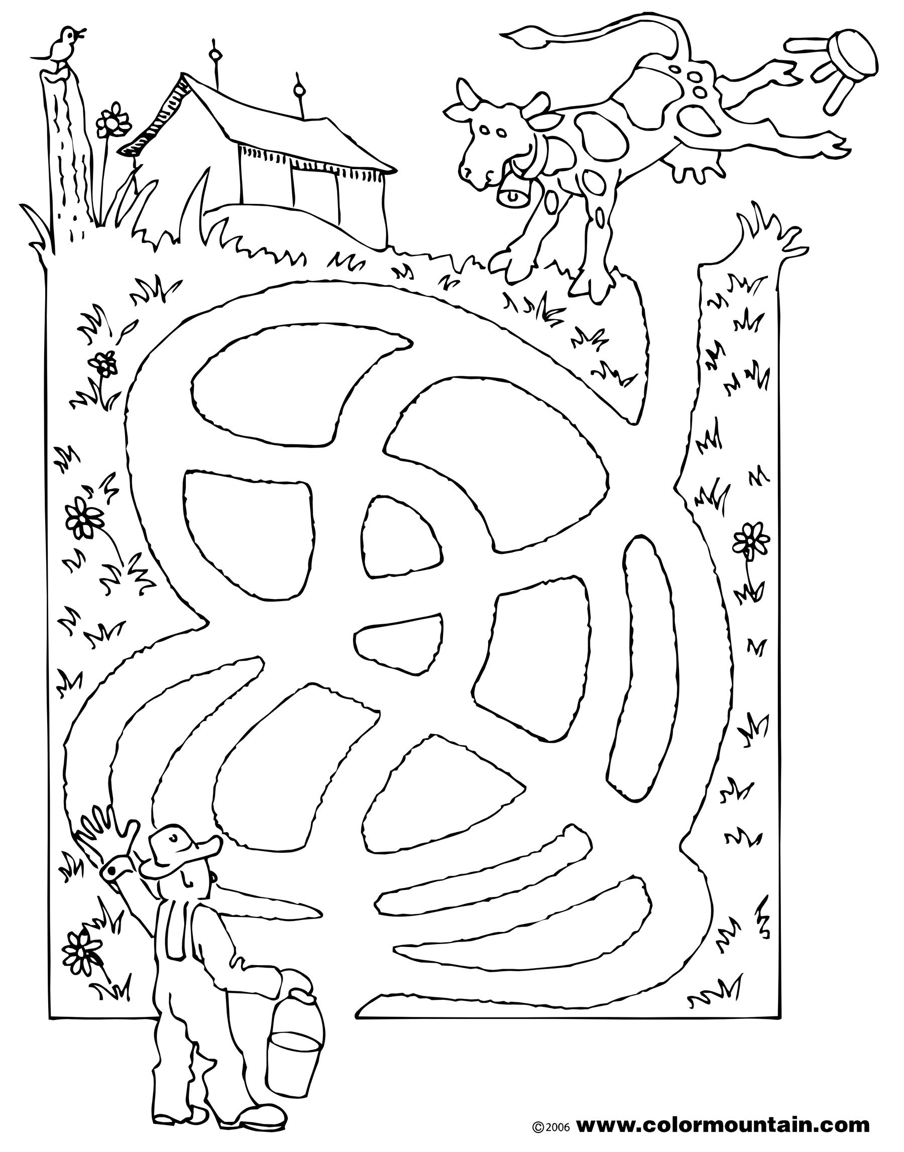 Maze Cow 1 Coloring Page