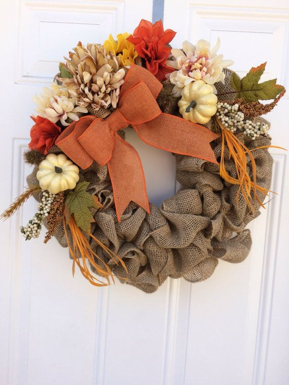 Photo of Thanksgiving wreath, fall floral wreath, fall burlap wreath, fall wreath, rustic fall wreath, fall wreath, fall front door wreath