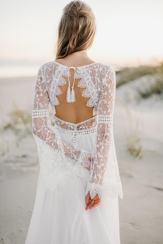 Photo of Mabel Bohemian Backless Long Sleeve Lace Wedding Dress – Pra…