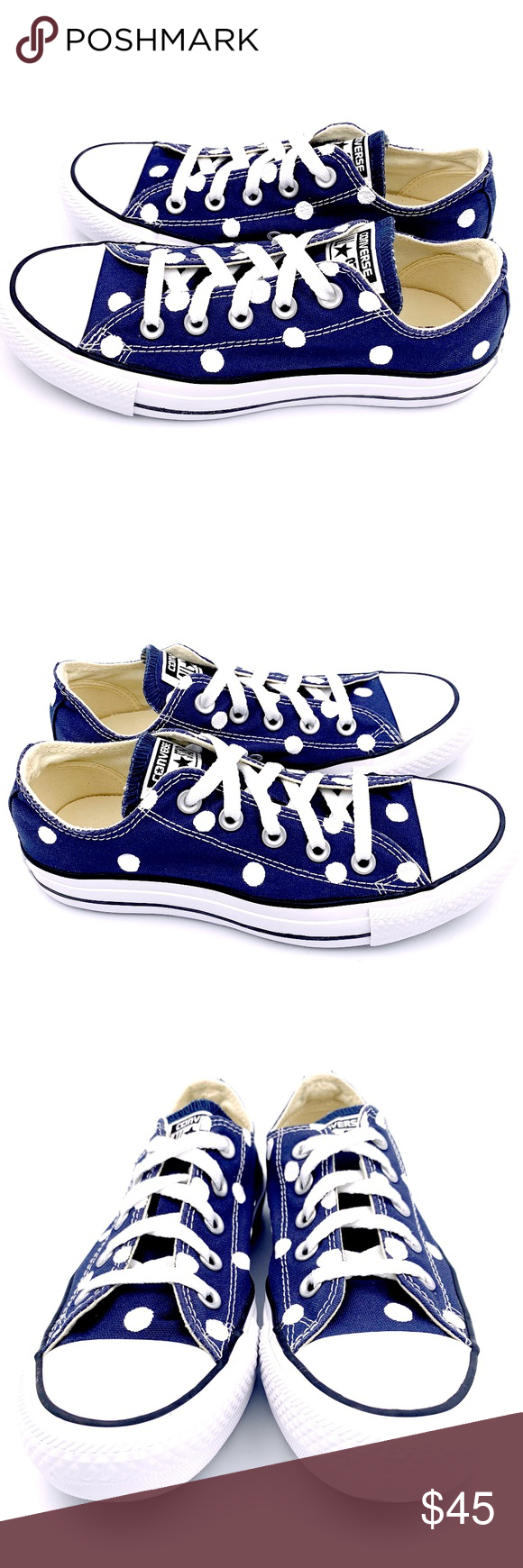 4d2ef8c94561 Converse 6 NAVY Blue Polka Dot Chuck Taylor AS Hand painted unisex Converse  Chuck Taylor All