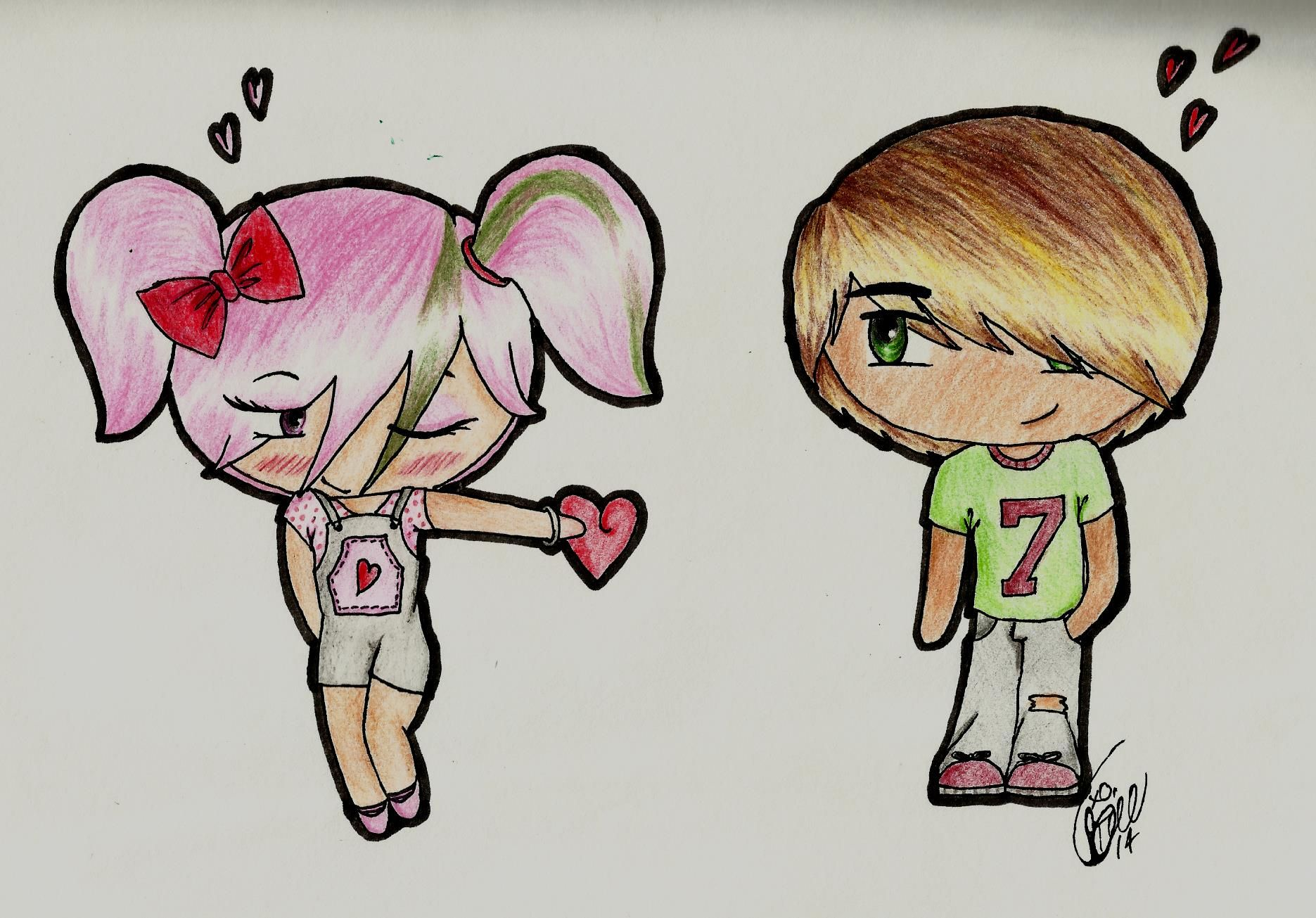 Boy girl chibi anime love cute pink hair red bow heart drawing colored pencil sketch 14 year old bree