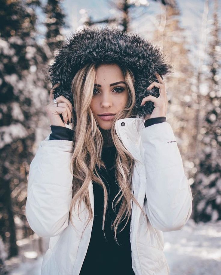 Photo of Blonde Charly Jordan Rocking Winter Furry Hooded White Coat in Snow Wonderland!