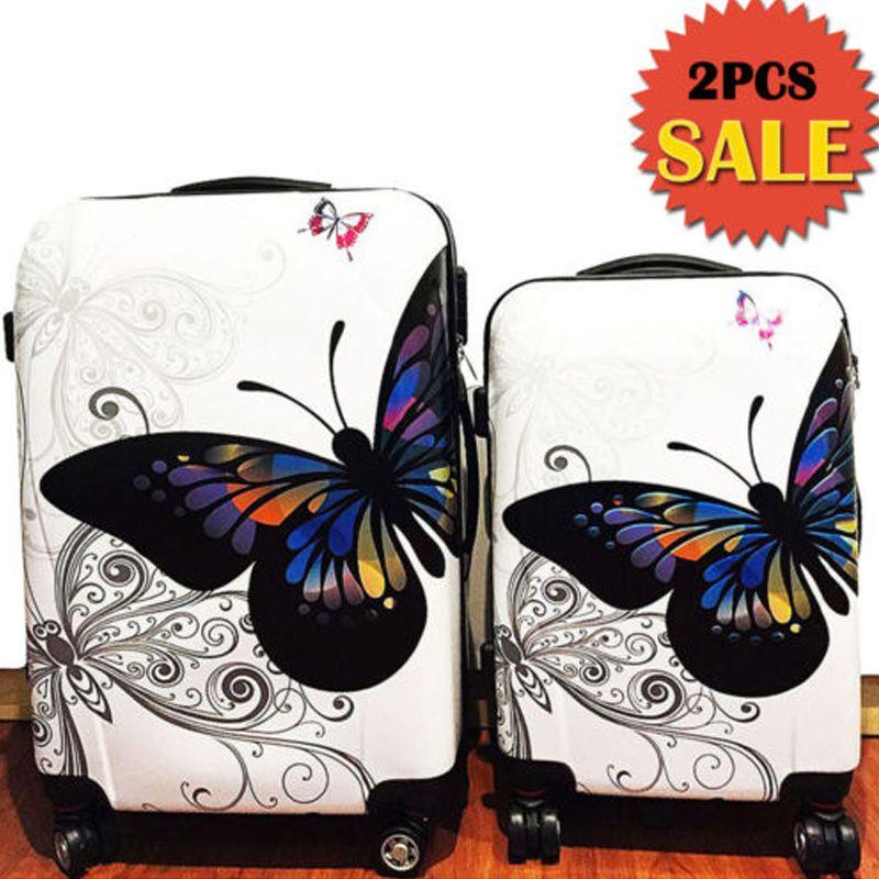 Sale! Sale! Sale! 2 PCS butterfly printing hardside 4 universal ...