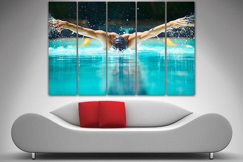 Swimming Canvas Swimming Print Sport Decor Swimmer Print Etsy Sports Decorations Swim Gifts Nursery Wall Decor