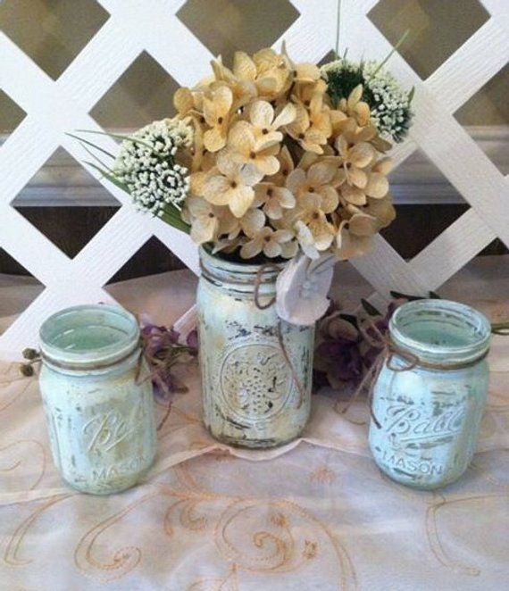 Rustic Mason Jars ~ Rustic Wedding Decor ~ Barn Wedding ~ Country Wedding ~ Rustic Home Decor – Distressed Mason Jars ~ Upcycle Mason Jar ~