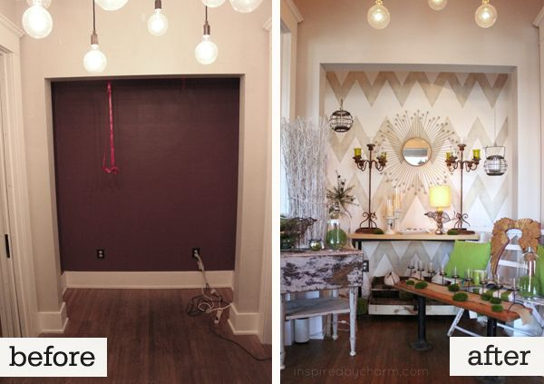 chevron wall makeover via inspired by charm on the lettered cottage