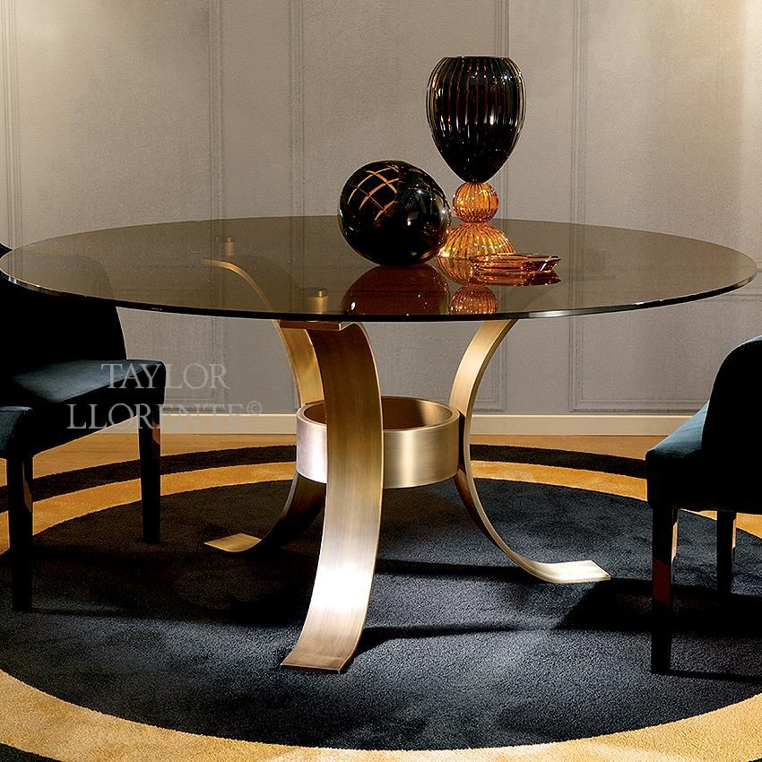Luxury modern bronze metal dining table with smoked glass top. | Metal table, Bronze table ...