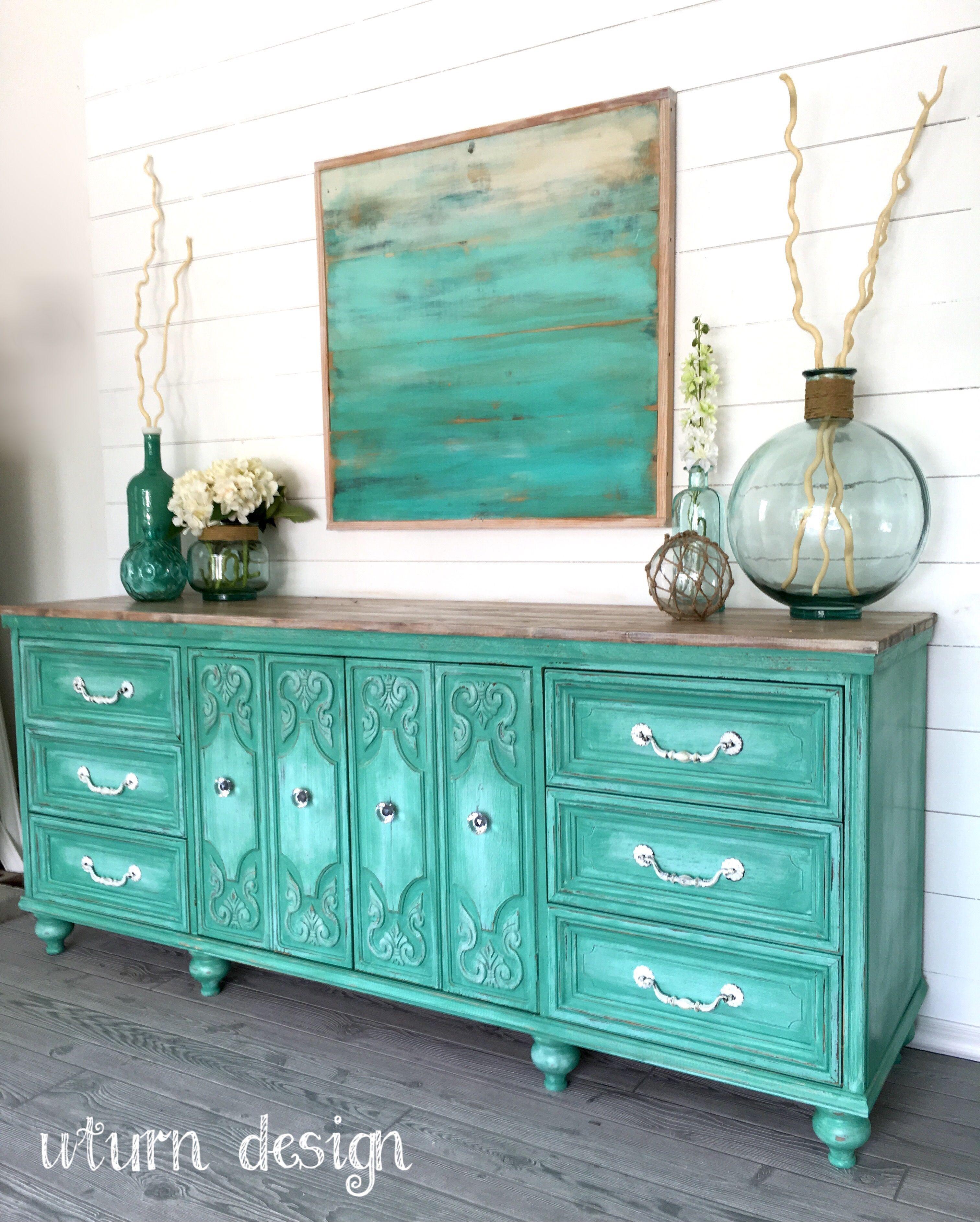 Aqua Coastal dresser / buffet By UTurn design | Chalk Paint - Annie ...