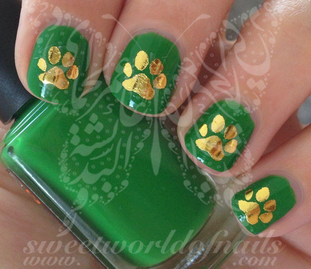 Gold Paw Nail Art Nail Water Decals Transfers Wraps   Nail Art ...