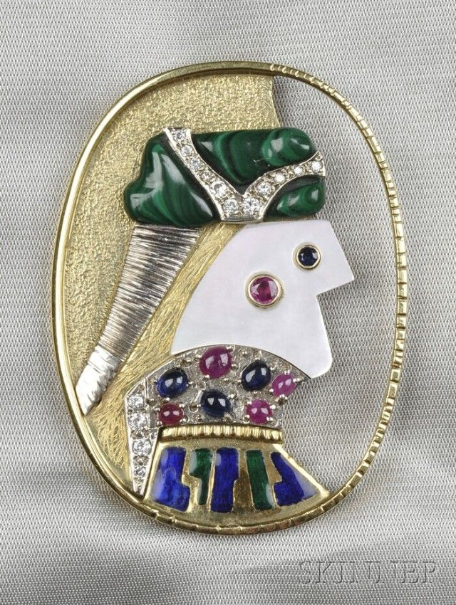 """Artist-designed Gem-set """"O Douce Fantaisie"""" Brooch, Max Papart, c. 1980s, made by Jean Jacques de la Verriere, designed as a harlequin in 18kt and 14kt gold, with mother-of-pearl, malachite, diamond melee, and cabochon rubies and sapphires, enamel collar, lg. 2 1/8 in., signed."""