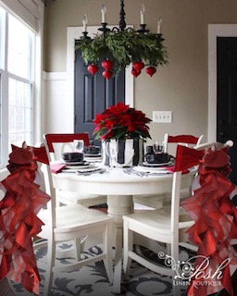 Christmas Chair Sashes Burgundy Sets Of Either 2 4 5 6 8 Or