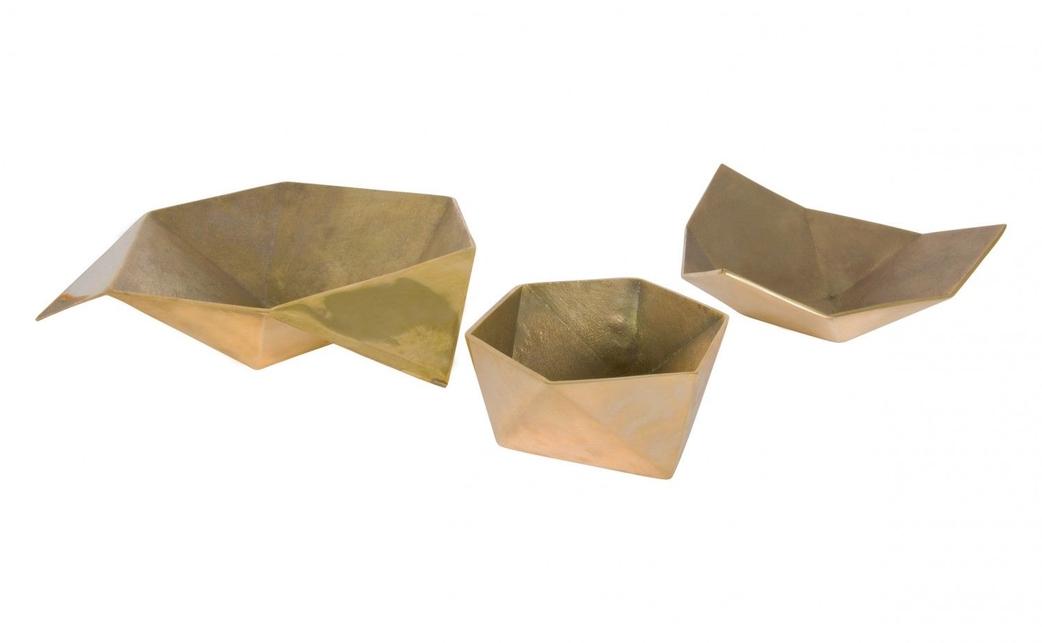 We're intrigued by the unique shapes of our Origami Bowls and the contrast between the polished and cast brass finishes. Either the medium or large size bowl would be attractive in the entry way to collect the day's ephemera or to serve candies or nuts. Our small Origami Bowl would be a pretty sugar bowl accompanied by our Arrow Teaspoon. It would be equally useful as a desk accessory to contain paper clips or rubber bands. 	    •polished brass exterior  •cast brass interior    Dimen...