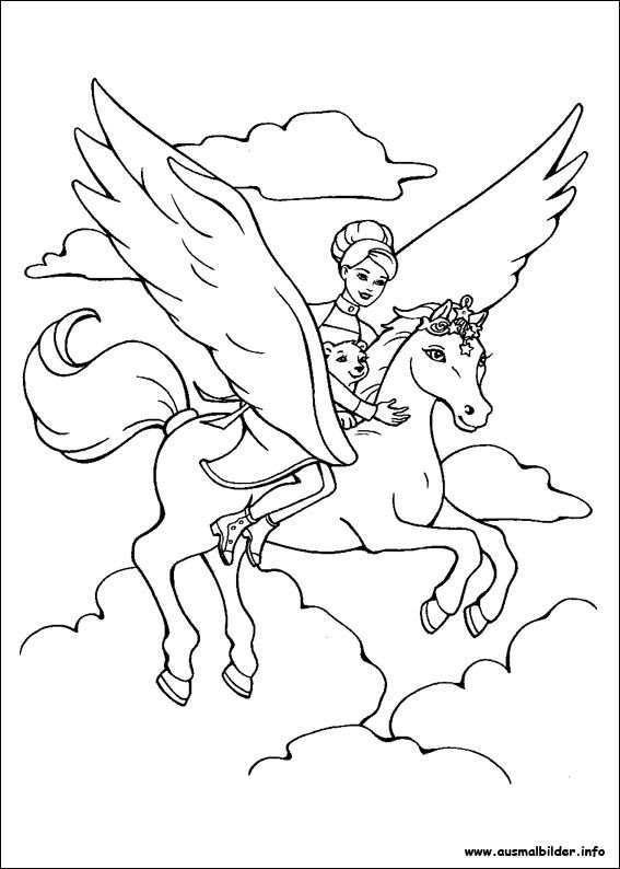 Ausmalbilder Barbie Pegasus | ~*~ LOVE TO COLOR ~*~ | Pinterest ...