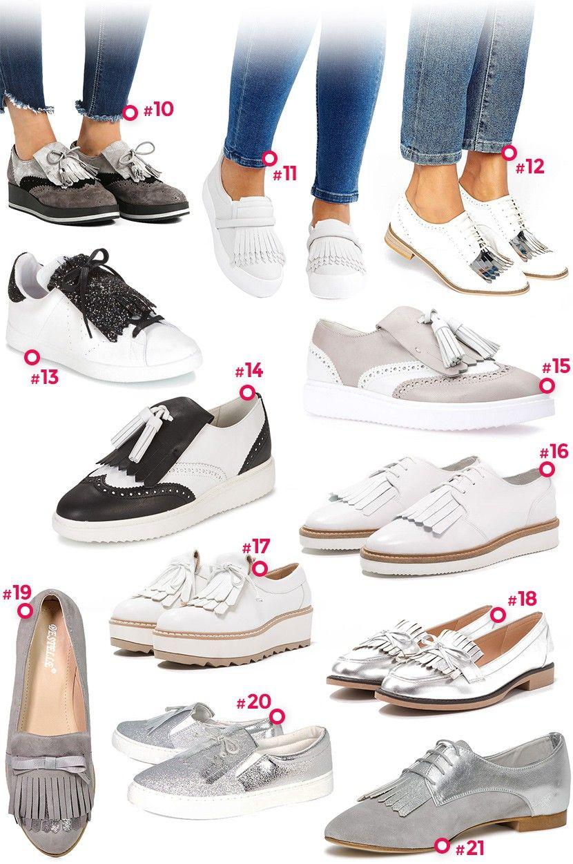 Sélection de chaussures à franges , Mode Femme Automne 2017 2018 , Baskets  Blanches