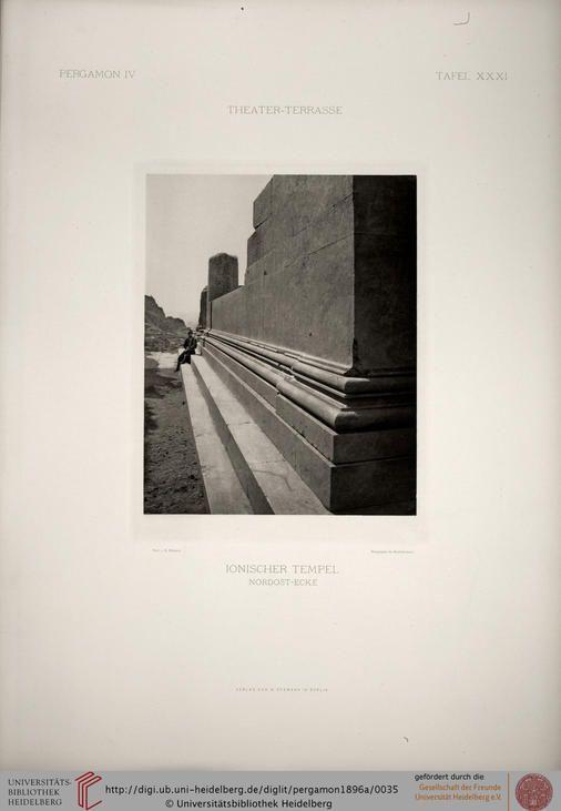 Bohn, Richard: Altertümer von Pergamon (Band IV, Tafeln): Die Theater-Terrasse (Berlin, 1896)