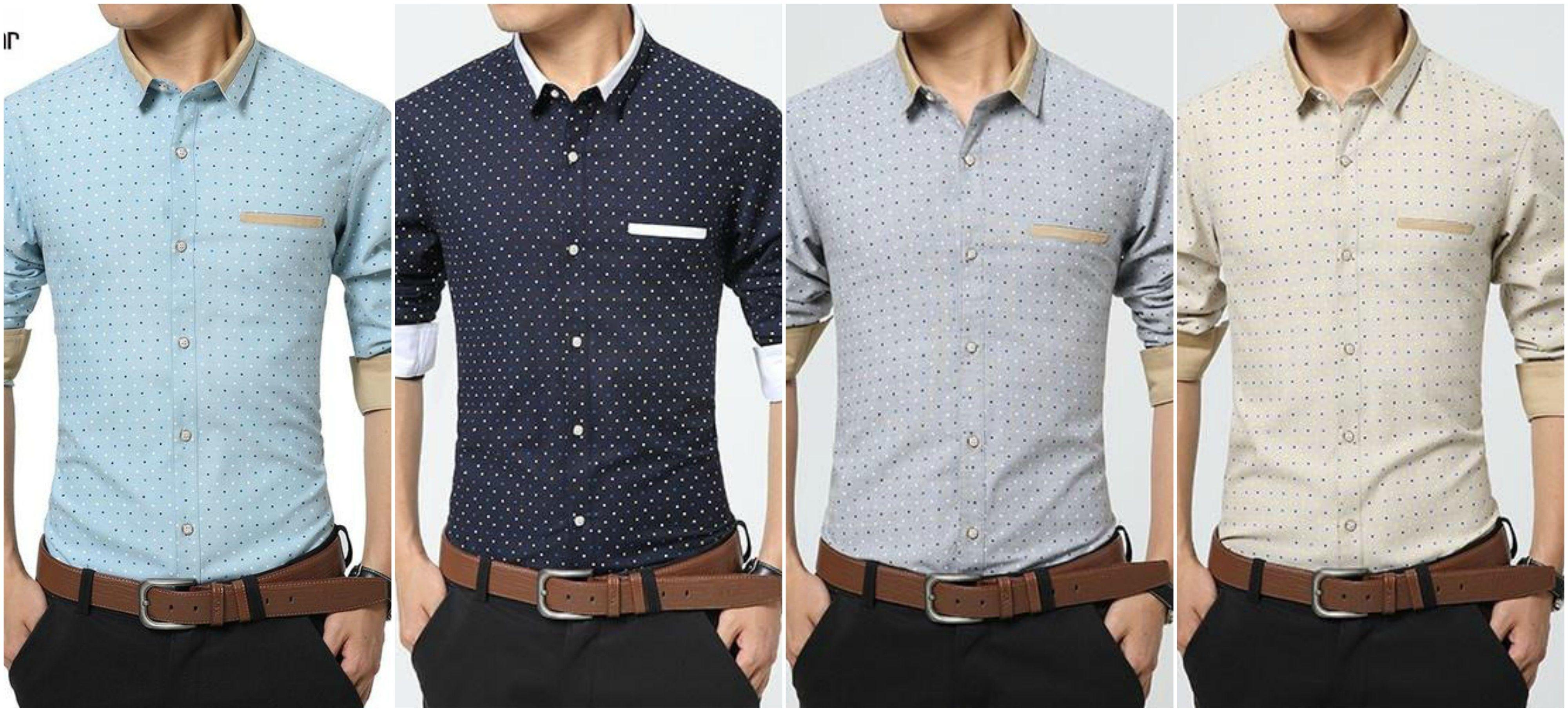 ac48a96ff195 Fashion Men Clothes Polka Dot Casual Men Shirts Long Sleeve Slim Fit Man  Shirts