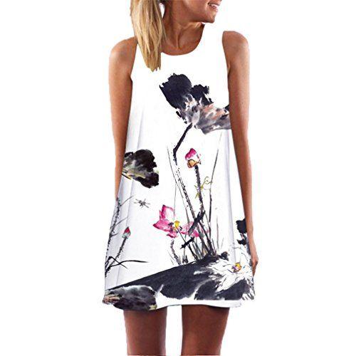45561f29fea4e Women Cute Boho Butterfly Flowers Print Sleeveless Beach Mini Summer Dress Plus  Size