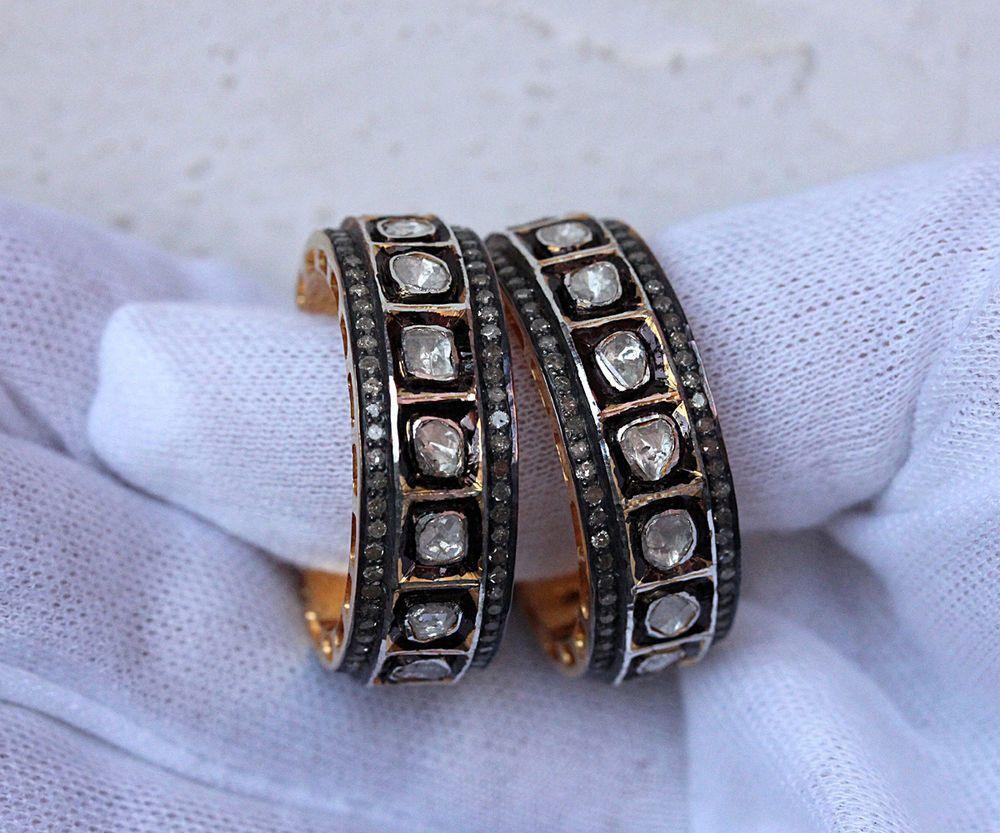 14 K Gold Pave Rose Cut Diamond Hoop Earrings Sterling Silver Fine Jewelry GIFT #Handmade #Hoop