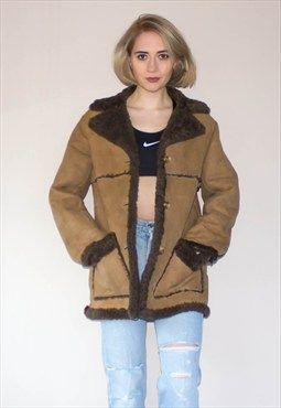 Vintage 70's Wool Shearling Suede Coat