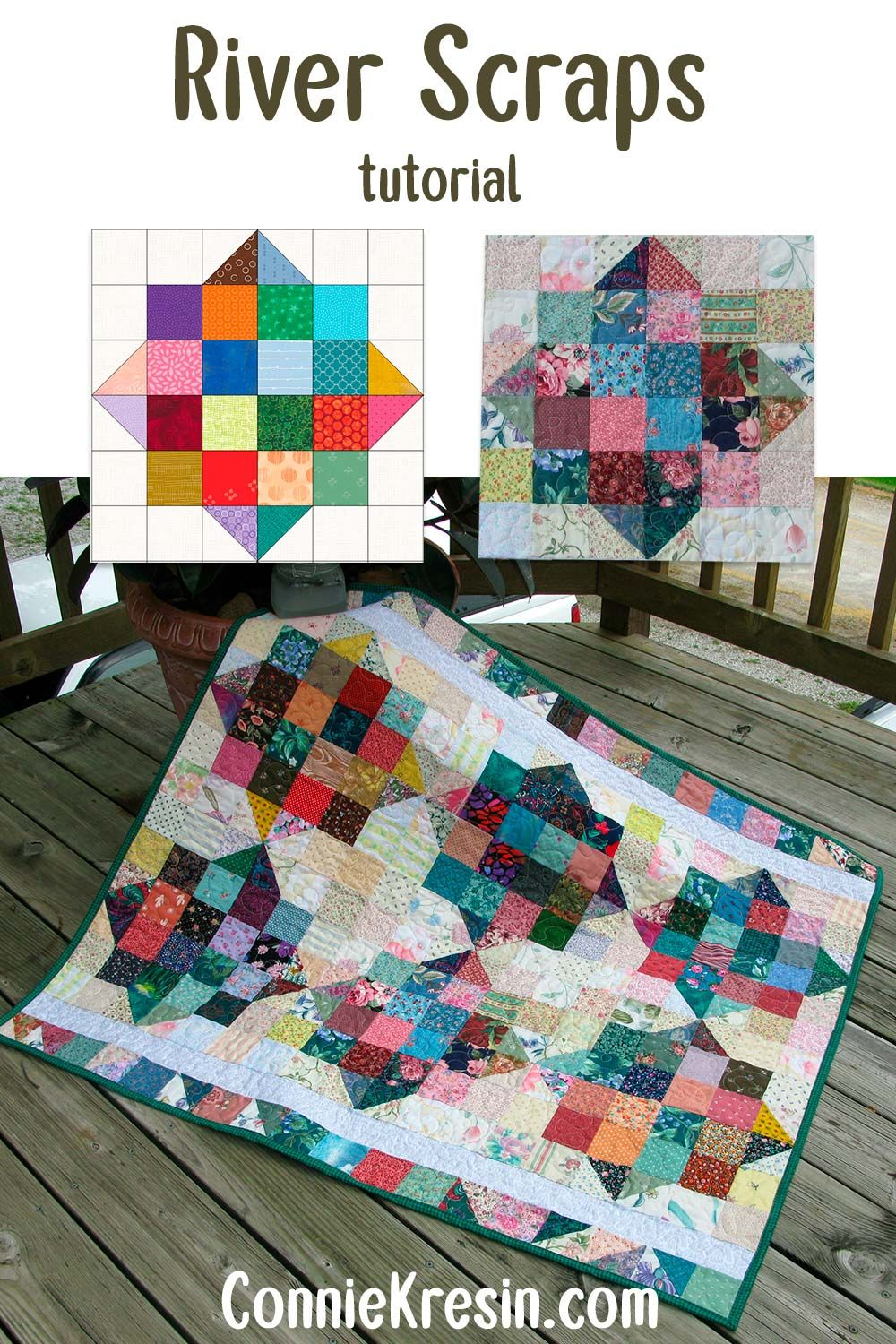 River Scraps Baby Quilt Freemotion By The River In 2020 Easy Quilt Tutorials Scrap Quilt Patterns Scrap Quilts