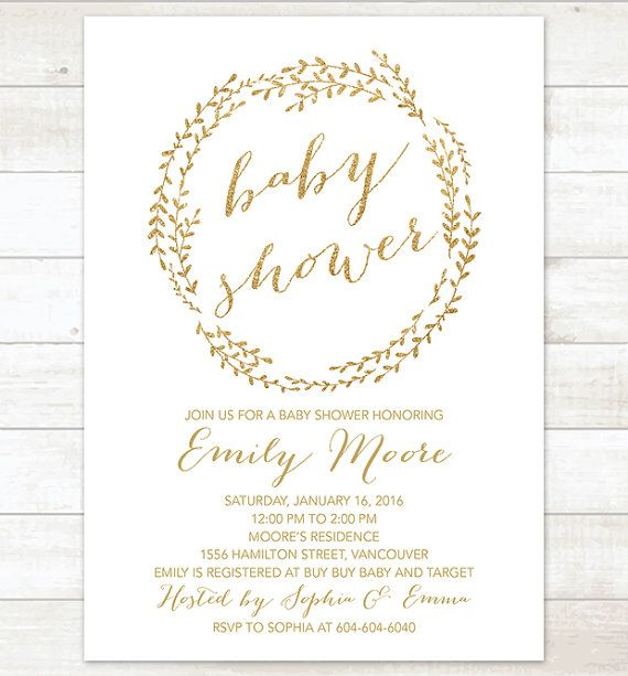 Baby shower invitation white gold wreath shower invitation gold baby shower invitation white gold wreath shower invitation gold glitter invitation custom baby shower invitation filmwisefo