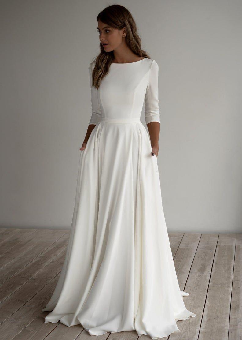 18 Romantisches Hochzeitskleid Adri Minimalistisches Kleid Langarm
