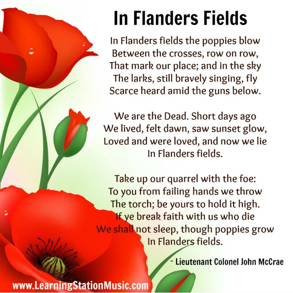 "In Flanders Fields"" is the world's most famous memorial poem by ..."