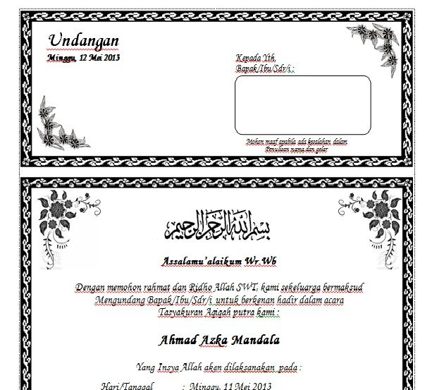 Download Contoh Undangan Aqiqah Dengan Ms Word Terbaru Undangan