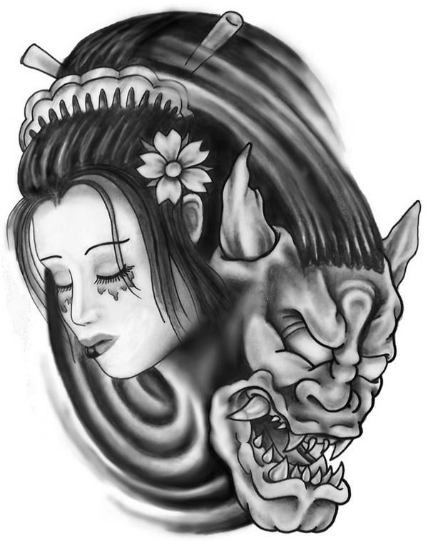 Hannya Mask Girl Tattoo: Hannya Mask Illustration - Google Search
