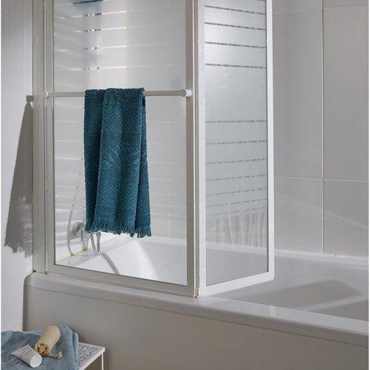 pare baignoire 2 volets verre de securite 3 mm serigraphie lm 104 salle de bain baignoire