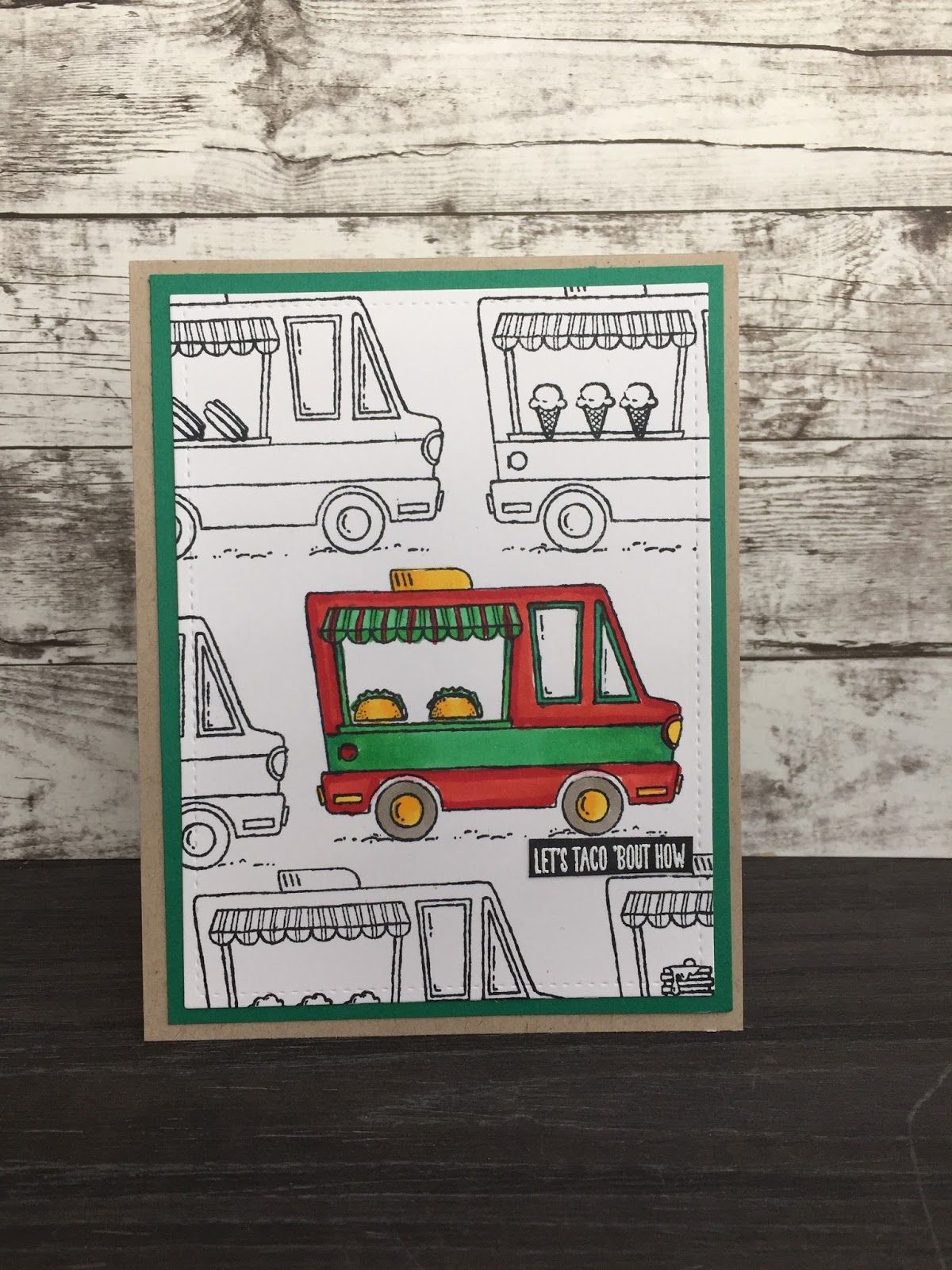 Tasty Trucks Card Video T I decided to create a card using the tasty trucks sale-a-bration stamp set. I had made little 3D trucks earlie...