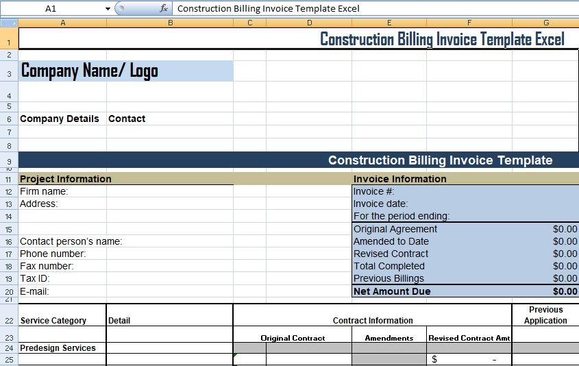 Get Construction Billing Invoice Template Excel Xls Business